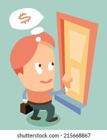 door to door marketing. Flat vector illustration