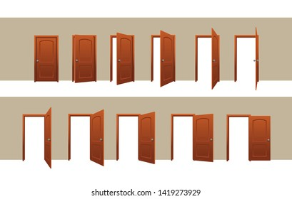 Door Opening Motion Sequence Animation Set Vector