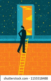 Door to Opportunity. A businessman climbing the corporate ladder opens a door to endless possibilities.
