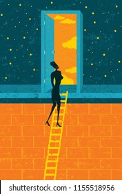 Door to Opportunity. A businesswoman climbing the corporate ladder opens a door to endless possibilities.