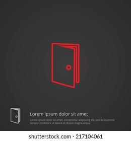 door outline thin symbol, red on dark background, logo editable, creative template