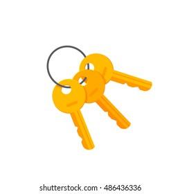 Door or padlock keys on key ring vector illustration isolated on white background, bunch of golden keys on keyring flat cartoon style