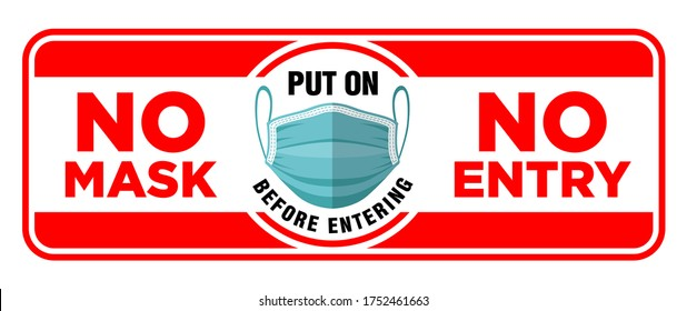 Door plate on the facade door. No mask no entry. Put on a face mask before entrance. Preventive measure against infection with COVID-19 (coronavirus). Illustration, vector