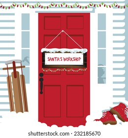 The door to Santas workshop  EPS 10 vector illustration