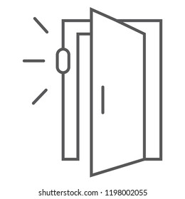 Door sensor thin line icon, access and security, automatic door sign, vector graphics, a linear pattern on a white background, eps 10.