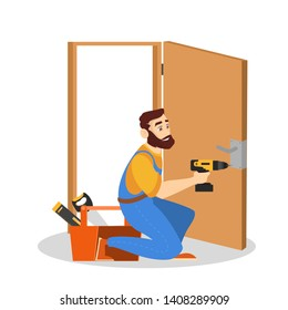 Door service. Repairman in the uniform with special equipment repair door element. Locksmith fix lock. Isolated vector illustration in cartoon style
