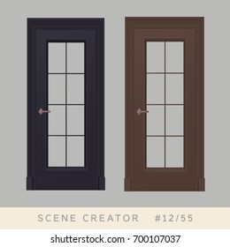 Door set. Isolated objects. Interior scene creator set.