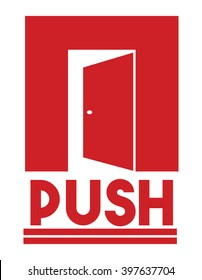 Door sign - push