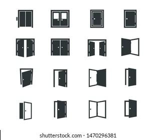 Door Sign Symbol Group Icon Vector