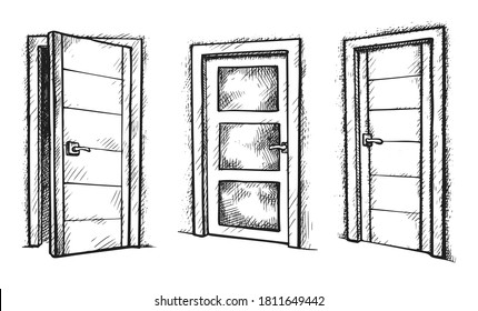 Door sketch. Hand drawn room door opened and closed sketch icon set isolated on white background. Vector apartment doorway different form and design illustration. Sketched element for doodle interior