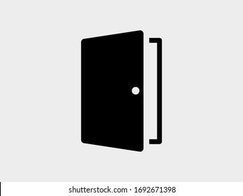 door vector icon. Entrance door, vector graphic illustration of the exit door in a frame.