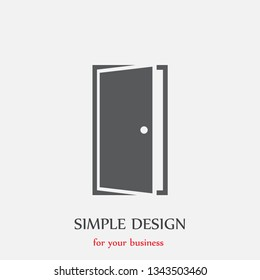 A door vector icon . Simple isolated sign . The symbol of an opportunity . Illustration  of an entrance .