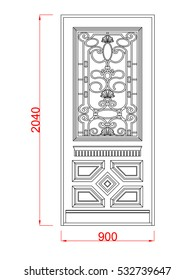 Door vector image with dimension black paint in the white background