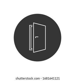 Door vector line icon on white