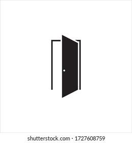 Door vector logo design black. Door icon