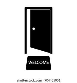 Door with welcome mat vector icon.