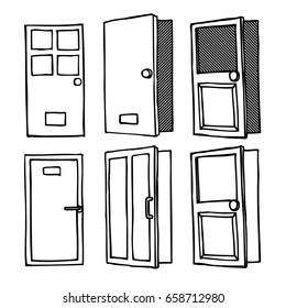The Door window doodle illustration vector