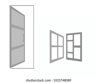 door and window frame vector elements for logo design