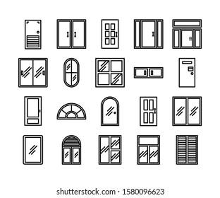 ドアと窓のアイコンセット、ベクター画像とイラスト、インテリアデザインコンセプト