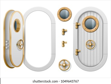 The door and window of the ship polishing metal. Perhaps the door compartment of the submarine or laboratory, bank. Armor. Vector graphics