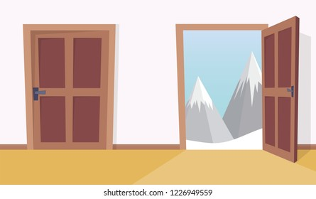 door with winter landscape. Flat cartoon style vector illustration.