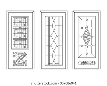 Door wood carving and vintage glass design work different variant