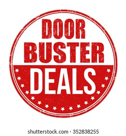 Doorbuster deals grunge rubber stamp on white background, vector illustration