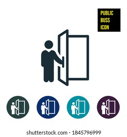 Doorman Icon stock illustration. An icon of a person holding open a door.