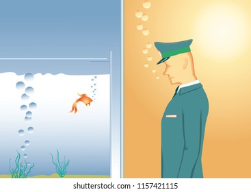 Doorman standing in front of pane of glass. Security guard watches a goldfish in an aquarium. Vector illustration EPS-8.