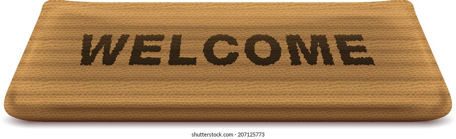 """Doormat with the text """"welcome"""" on it"""