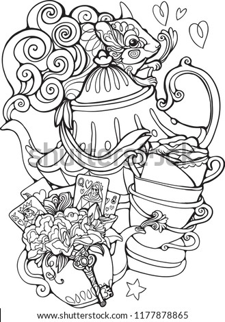 Doormouse Mad Tea Party Alice Wonderland Vector de stock (libre de ...