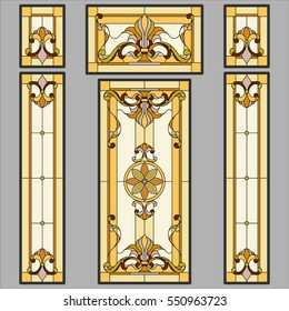 Doors classic - stained glass. Vector.