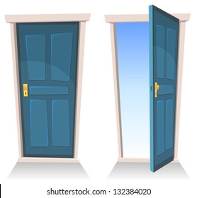Doors, Closed And Open/ Illustration of a set of cartoon front doors opened and closed with sky background, symbolizing death frontier, paradise or heaven's gate