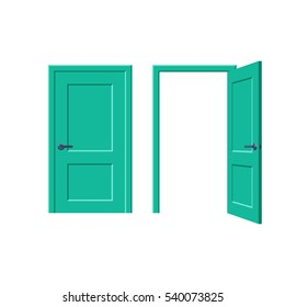Doors closed and open. Vector illustration in flat style design, isolated on white background