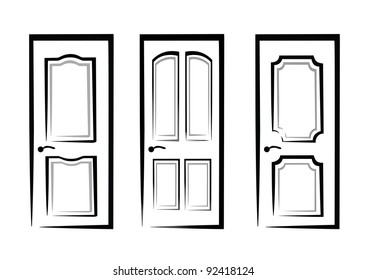 doors collection of isolated illustration in simple black lines
