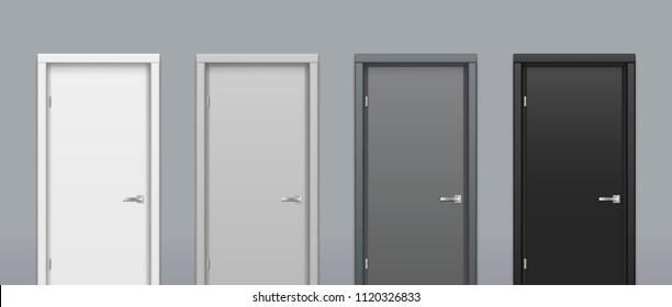 The doors of different gray colors on a gray wall