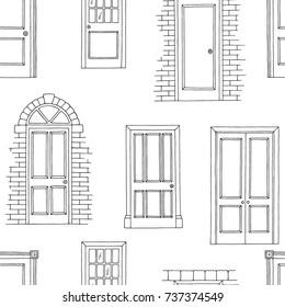 Doors graphic black white seamless pattern sketch illustration vector