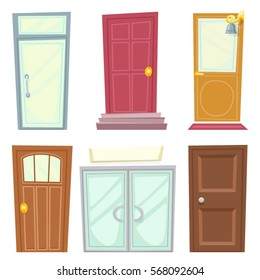Doors Icons Set House Cartoon and Design Isolated Vector Illustration