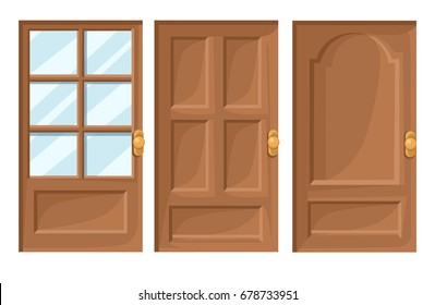 Doors Icons Set House Cartoon and Design Isolated Vector Illustration Vector illustration Web site page and mobile app design