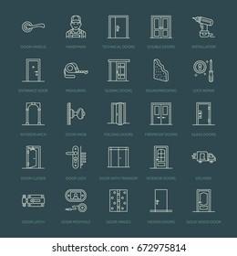 doors installation repair line icons handleのベクター画像素材