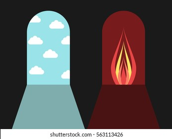 Doors leading to blue sky with clouds and red darkness with fire. Hell and heaven, sin and death concept. Flat design. Vector illustration. EPS 8, no transparency