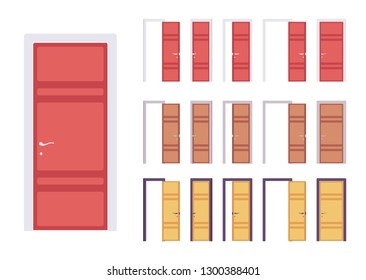 Doors modern set, entrance to a building or room. Home and office contemporary design concept. Vector flat style cartoon illustration isolated on white background, different views, open and closed