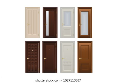 The doors are realistic different beautiful entrance plastic and wood.