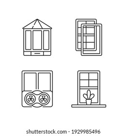Doors replacement service linear icons set. Bay and bow windows. Extra wind protection. Windowsills. Customizable thin line contour symbols. Isolated vector outline illustrations. Editable stroke