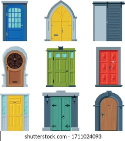 Doors in Vintage Style Collection, Facades and Apartments Architactural Design Elements Vector Illustration