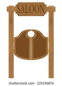 doors in western saloon wild west vector illustration isolated on white background