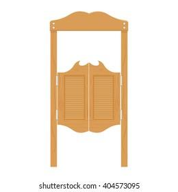 doors in western saloon wild west vector illustration. saloon doors isolated on white background