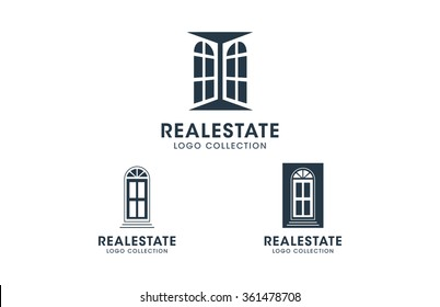 Doors and windows real estate logo set. Silhouette vector icons collection with placeholder text for branding signs, business cards, websites.