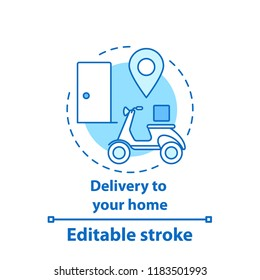 Doorstep delivery concept icon. Food delivery. Courier service idea thin line illustration. Vector isolated outline drawing. Editable stroke