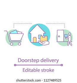 Doorstep delivery concept icon. Home delivery service idea thin line illustration. Courier. Shipment. Vector isolated outline drawing. Editable stroke